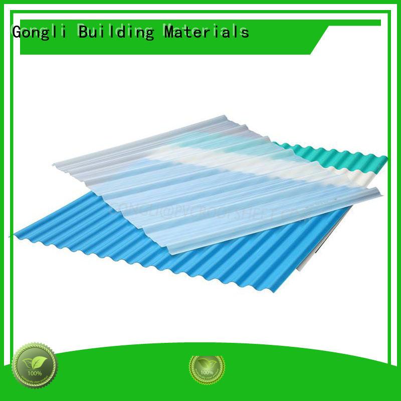 Gongli sheet pvc roofing sheet price free sample for car shed